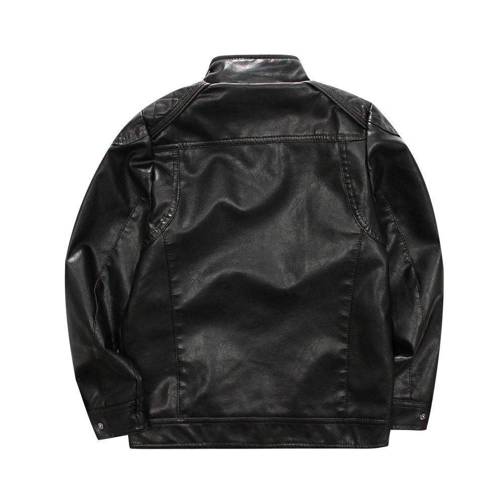 61f2e874eb4f LJYH Boys Classic Stand-Collar Faux Leather Moto Biker Jacket at ...