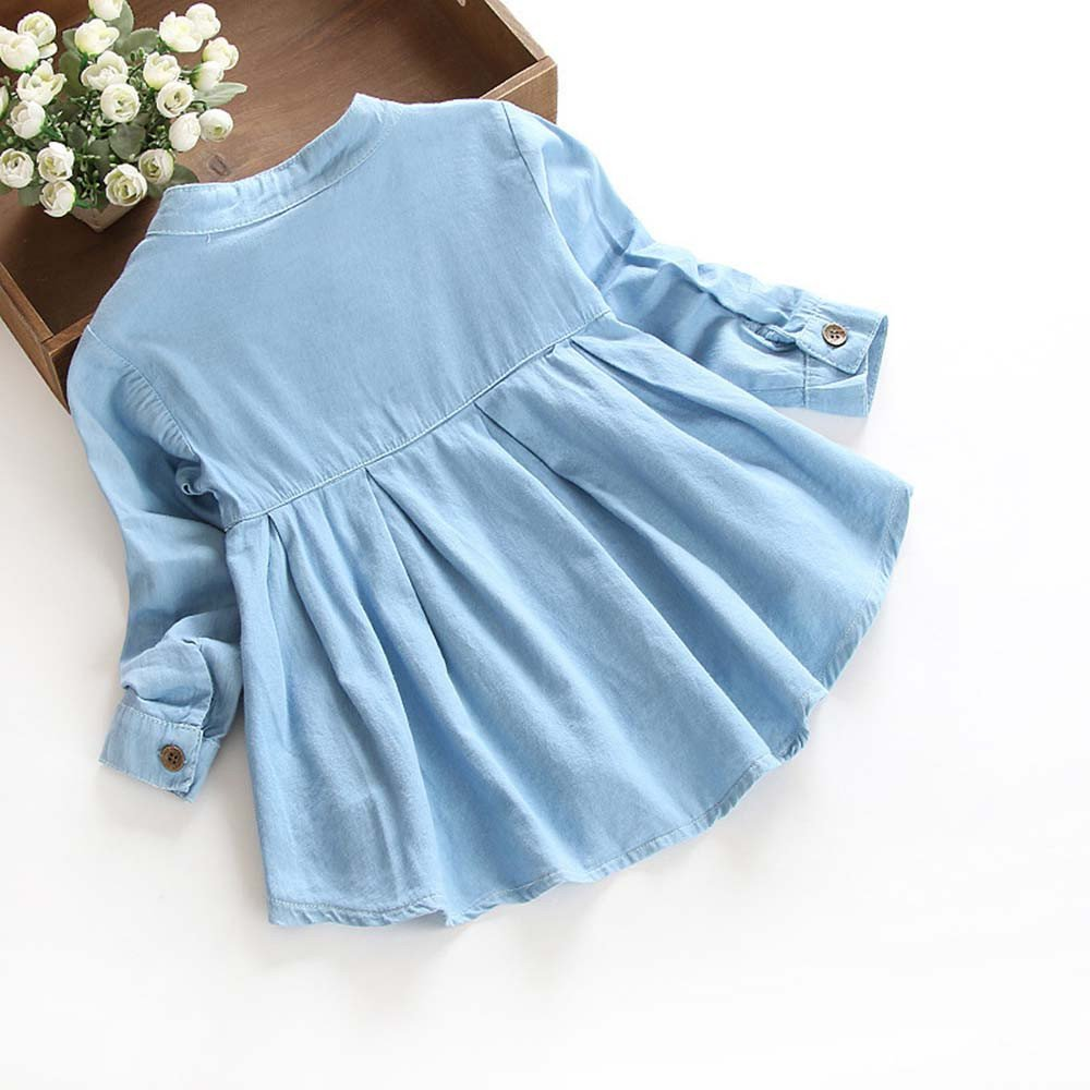 Auwer Little Girls Long Sleeve Denim Ruffle Botton up Shirts Kids Autumn Casual Tops 3-8T Blue, 6T