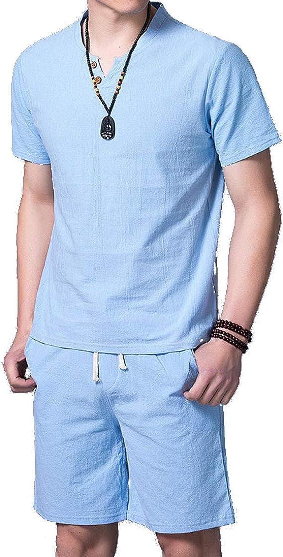 YaYu - Conjunto de chándal de algodón Suelto para Hombre - Azul ...