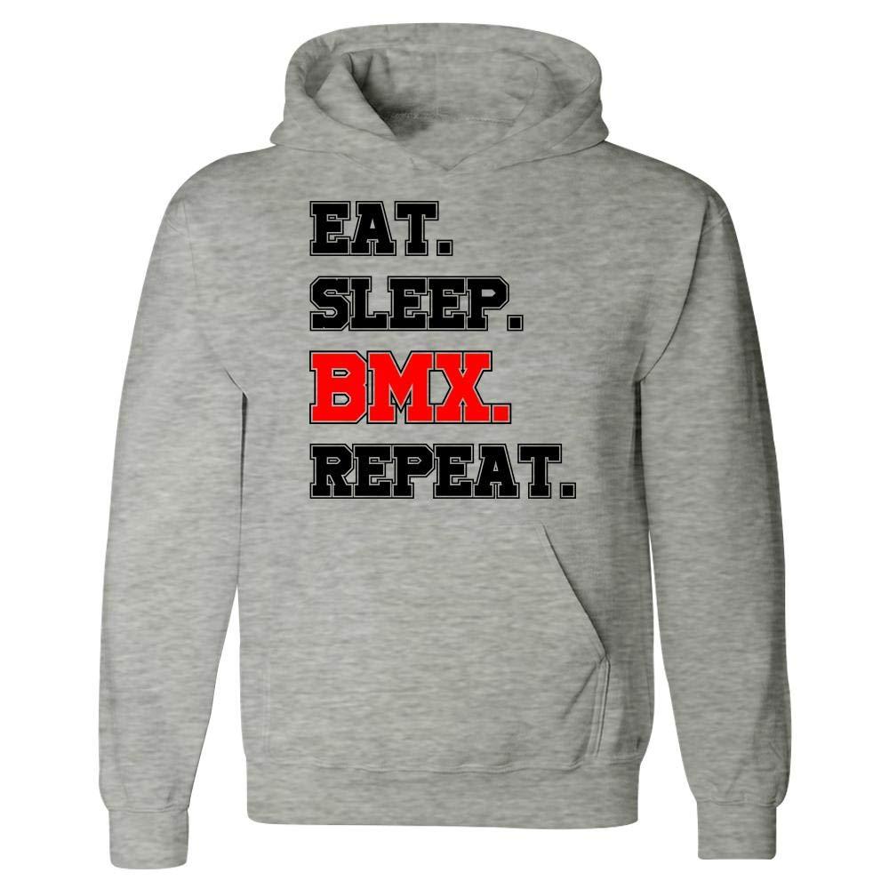 Eat Sleep Repeat Funny BMX Trail Jumps Speed Humor Hoodie Dirt Bike Racing