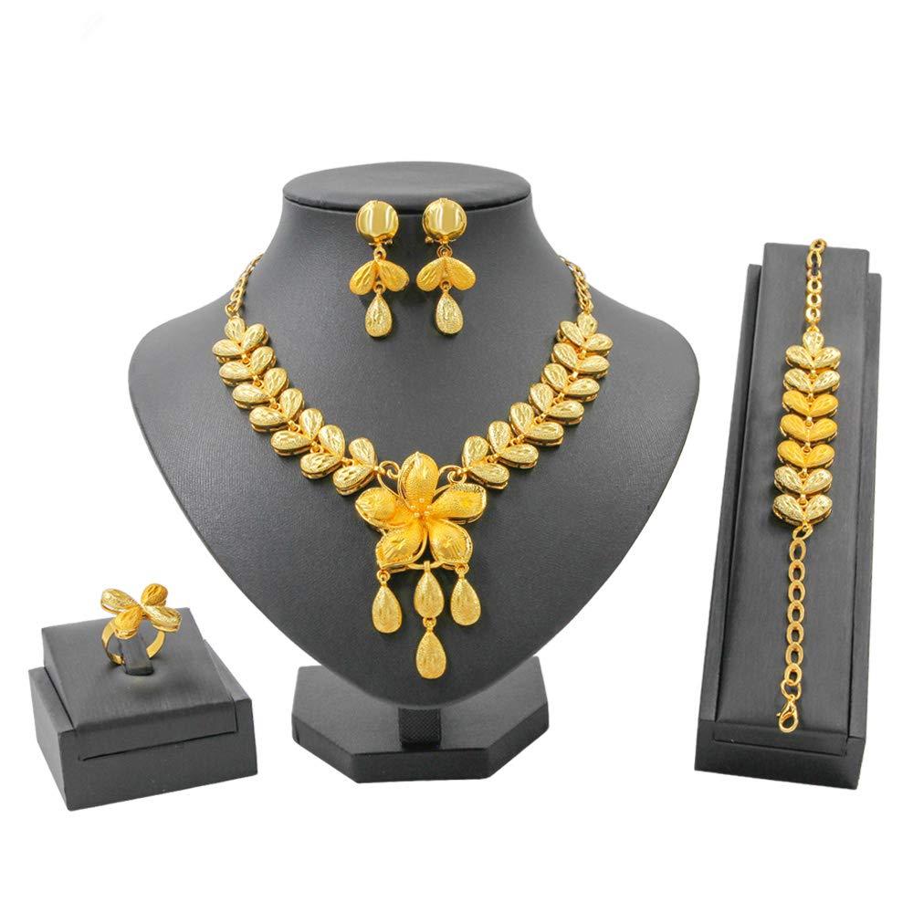8fbb2236f Amazon.com: Liffly Fashion Indian Jewelry Set for Women Yellow Gold Tone  Jewellery Weddings Dubai Gold Necklace Earrings Set: Jewelry
