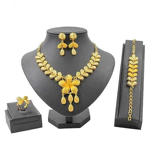 db4b0217f2 Liffly Fashion Indian Jewelry Set for Women Yellow Gold Tone Jewellery  Weddings Dubai Gold Necklace Earrings Set
