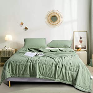 JELLYMONI 3 Piece Green Comforter Set Thin Summer Quilt, Ultra-Soft Microfiber Fill and 100% Washed Cotton Cover, Luxury Comfortable Bedding Set (Green, King)