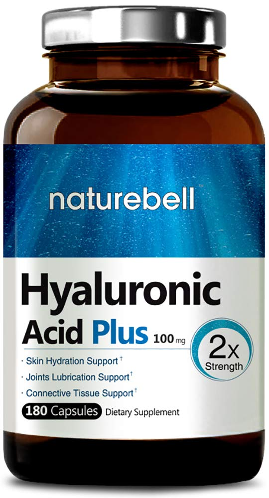NatureBell Hyaluronic Acid Capsules, 100mg,180 Capsules, Powerfully Supports Antioxidant, Skin Hydration and Joints Lubrication, No GMOs and Made in USA by NatureBell