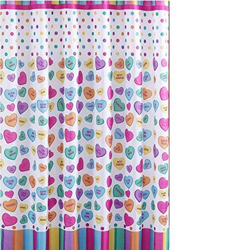 Danluolan Colorful Love Heart Bathroom Fabric Shower Curtain (Heart Shower Curtain)