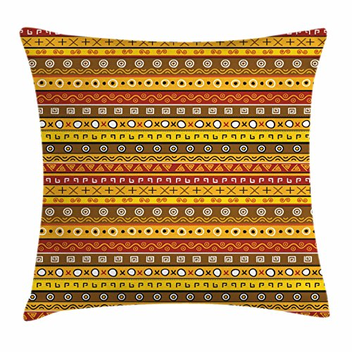 Ambesonne Primitive Decor Throw Pillow Cushion Cover, Tribal Art with Abstract Pattern Ancient Indigenous Rug Motif Symbol, Decorative Square Accent Pillow Case, 16 X 16 Inches, Orange Yellow