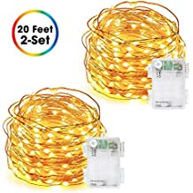 Fairy Lights, DecorNova 60 LED 20 Ft Battery Operated Copper Wire String Lights with Timer and 3AA Battery Case for Holiday Party Wedding Decorations, Warm White (Set of 2)