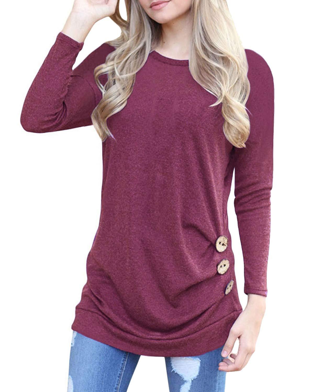 deesdail Womens Long Sleeve Casual T Shirts Button Trim Loose Tunic Tops Wine