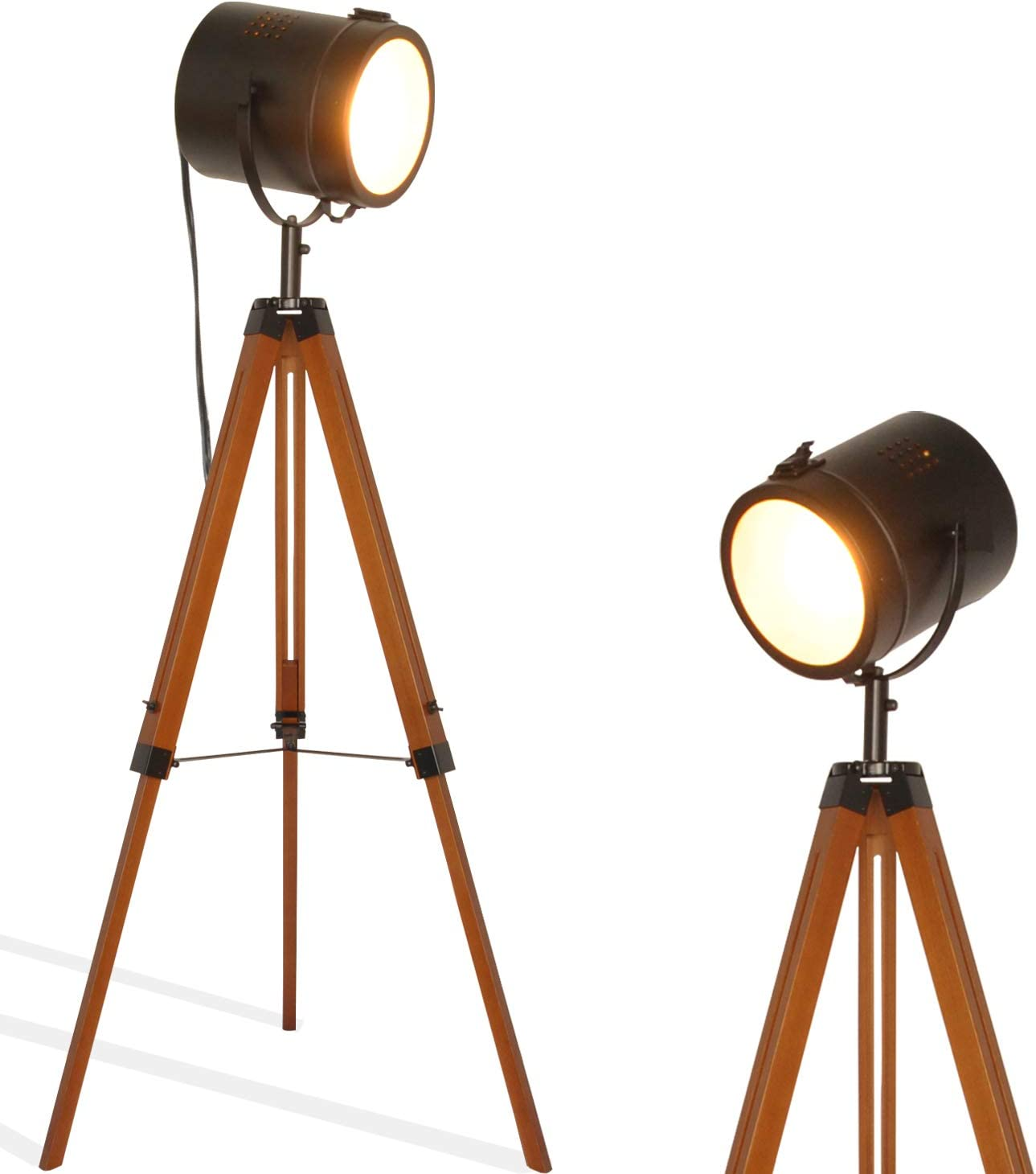 retro home Industrial Vintage Tripod Floor Table Lamp - Modern Adjustable Height Wooden Nautical Cinema Searchlight - Spotlight Standing Reading Light for Living Room Office Decoration(excluding Bulb)