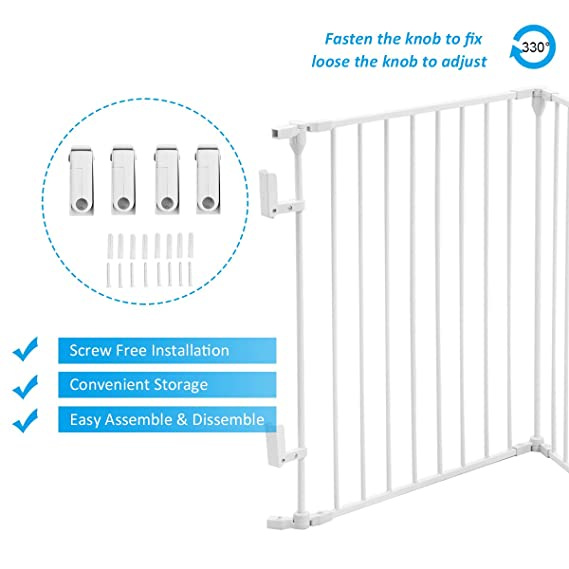 Casart 5 6 8 Panel Metal Fireplace Fence Safety Gate Safety Barrier Stove Fire Guard Room Divider For Bedroom Kitchen Office Home 6 Panels White Fire Guards