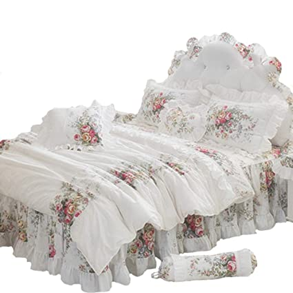 FADFAY Farmhouse Bedding Elegant And Shabby Vintage Rose Floral Duvet Cover  Bedskirt Lovely White Lace And