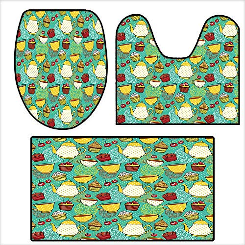 Non Slip Bath Shower Rug Funky Tea Cup Cake Muffin Cherry Sweet Bakery British Lifestyle Graphic for Seafoam Yellow Red.Custom Made Rug Set 19.6