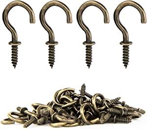 FEED GARDEN Cup Screw Hooks 5/8'' Metal Ceiling Hooks 50 Pack Heavy Duty Rubbed Bronze Steel Cup Hooks for Coffee Cup,Tea Cup,Plants,Lights,Hooks for Outdoor/Indoor