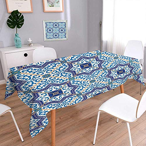 L-QN Polyester Square Tablecloth Moroccan Portuguese Style Classic Tiles Ornaments Islamic Historical Buildings Art Blue Dining Room Kitchen Rectangular Table Cover 52''x70'' by L-QN