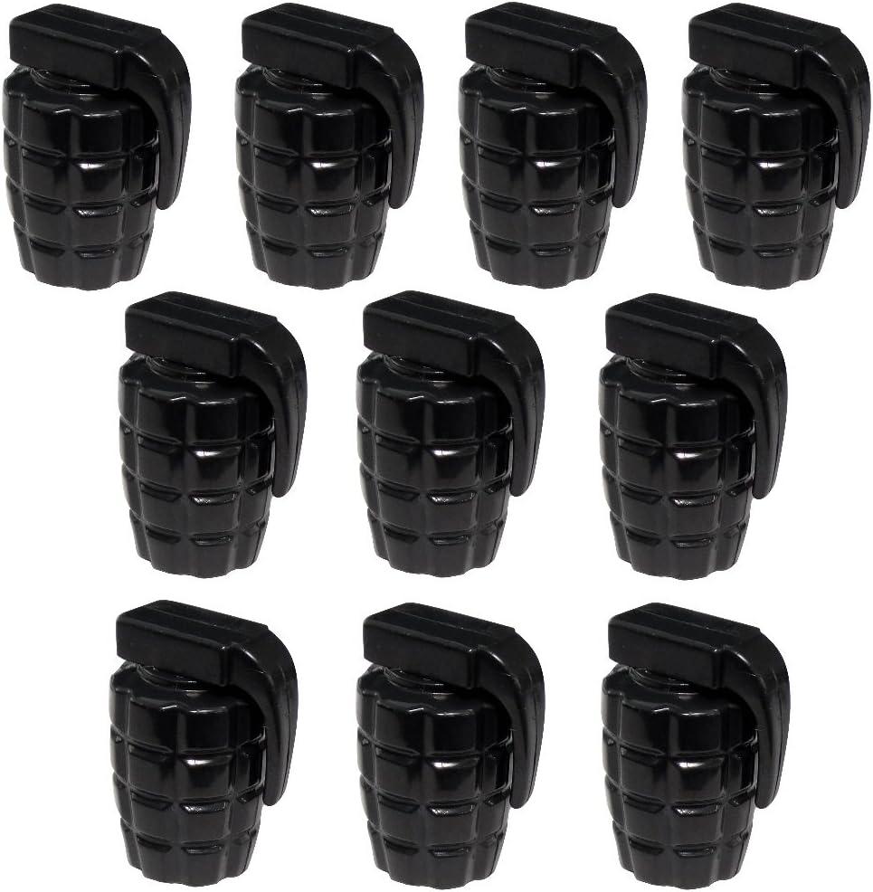10 Ventilkappen Auto Fahrrad Motorrad Geformt Grenade Farbe Schwarz C19934 Aerzetix