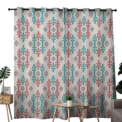 (NUOMANAN Light Blocking Curtains Native American,Ancient Ethnic Traditional Local Aztec Tribal Design Elements,Coral Turquoise White,for Bedroom, Kitchen, Living Room 84