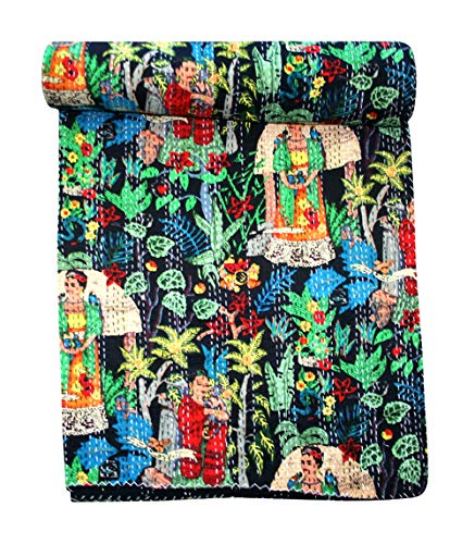thehandicraftworld, Black Farida Kahlo Queen of Mexican Painter Paint Kantha Quilt Blanket Bedspread Throw ()