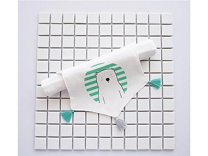 XDXDWEWERT Los niños Oso Blanco patrón Sudor Absorbente Toalla Borla Sudor absorbiendo Toalla Toallas de baño