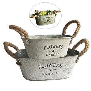 Vtete 2 Pcs Rustic Succulent Planter Box Iron Flower Pot Plant Container Box for 2 Different Sizes