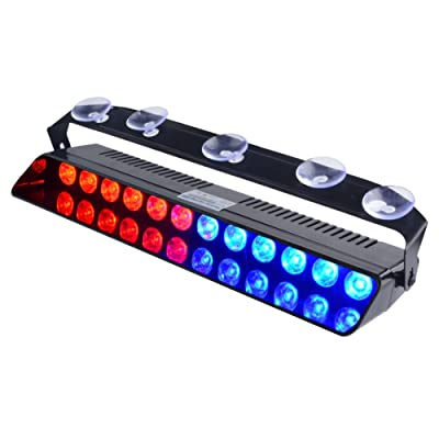 WOWTOU Emergency Strobe Dash Light Blue Red 16W 12 LED with 16 Flash Patterns for Police Hazard Warning Cars POV Traffic Advisors: Automotive