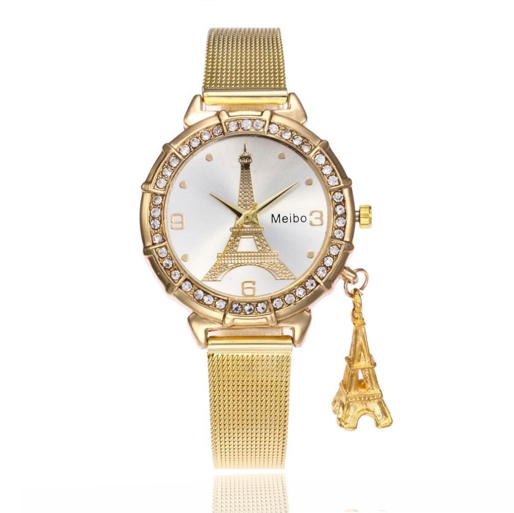 Hemlock Eiffel Tower Pendant Watches, Women Girls Stainless Steel Rhinestone Wrist Watch (Gold)