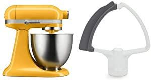 KitchenAid KSM3311XBF Artisan Mini with Flex Edge Beater, Orange Sorbet, 3.5 Quart