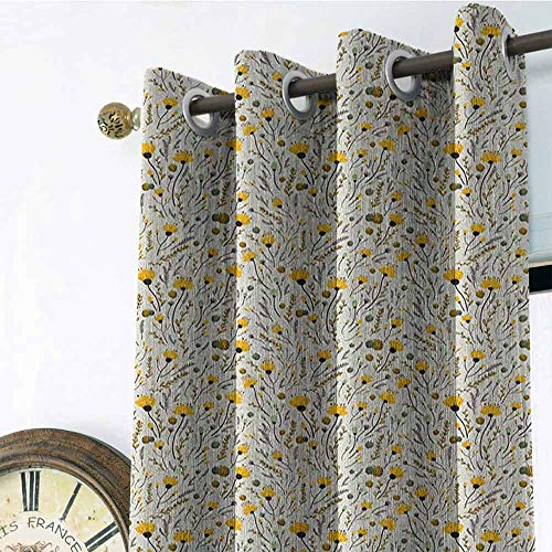 Doodle Pole Wearing Gromets Curtain Bedroom Decor , Yellow Flowers with Acorns and Foliage Pattern Ecology Themed Spring Fashion Darkening Curtains, Yellow Sea Green Black, W108 x L96 Inches ()