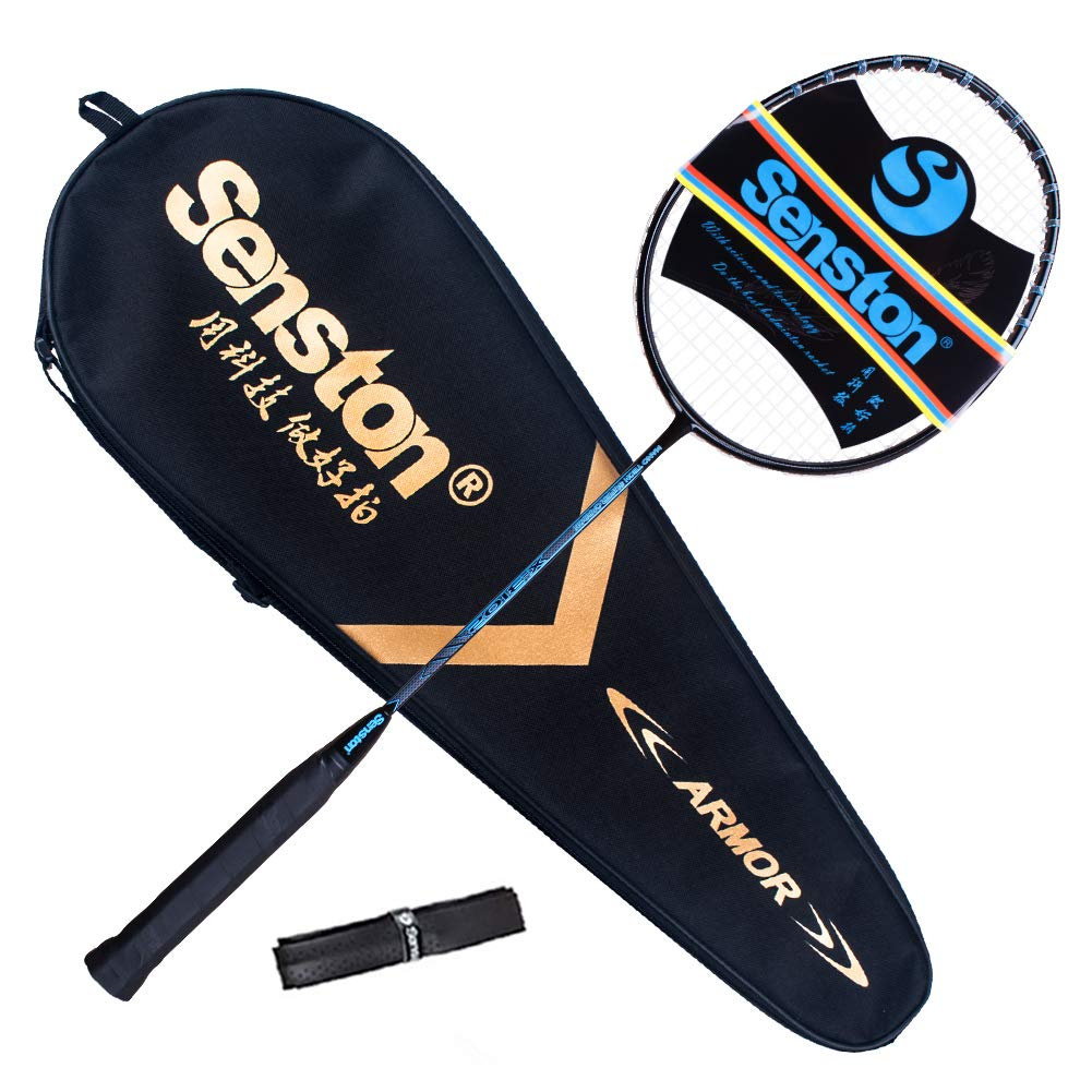 Senston X310 Graphite Badminton Racket New String Protected Technology Single High-Grade Badminton Racquet Blue with Racket Cover and Overgrip
