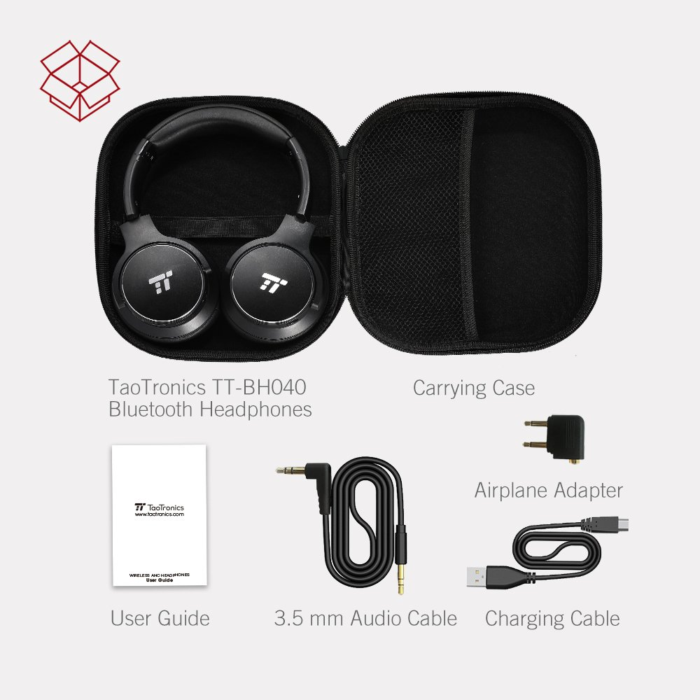 TaoTronics Active Noise Cancelling Bluetooth Headphones HiFi Stereo Wireless Over Ear Deep Bass Headset w/cVc Noise Canceling Microphone 30 Hour Playtime Comfortable Earpads for Travel Work TV by TaoTronics (Image #9)