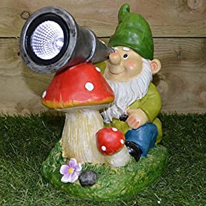 Solar Garden Light   Gnome Looking Through A Telescope With Toadstool In  Green