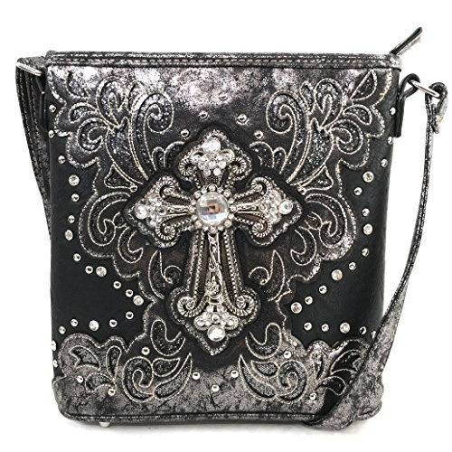 Justin West Bling Gleam Rhinestone Cross Floral Messenger Bag Purse with Long Cross Body Strap (Black Messenger Only)