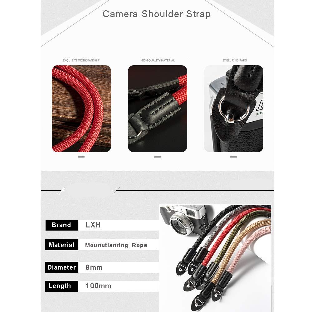LXH Correa universal para c/ámara hecha a mano rojo c/ámara de nylon correa para el hombro y cuello de la c/ámara para Leica Canon Nikon Fuji Olympus Lumix Sony