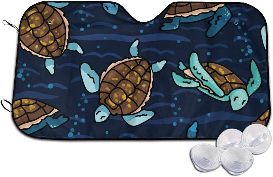 TMVFPYR Accordion Style Car SUV Front Windshield Sea Turtle Sunshade