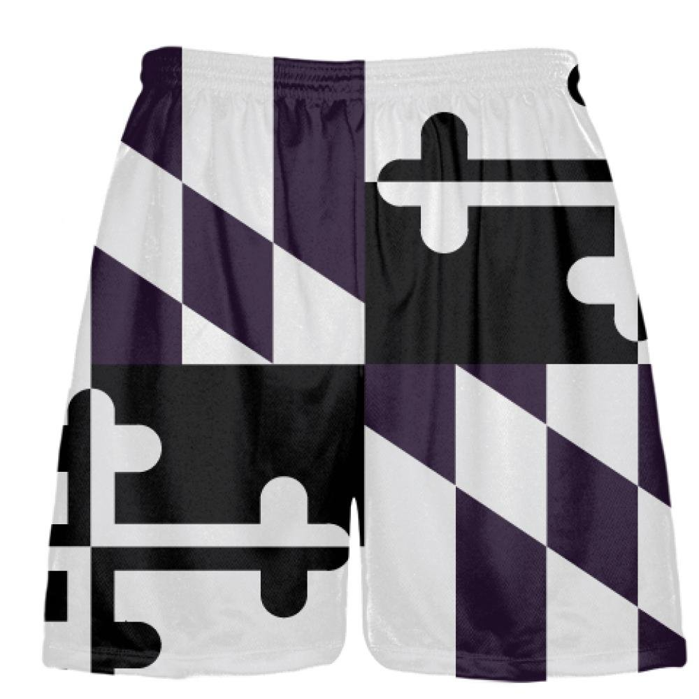 Youth Purple Black Maryland Flag Shorts - Ravens Lacrosse Shorts Youth Large, Purple