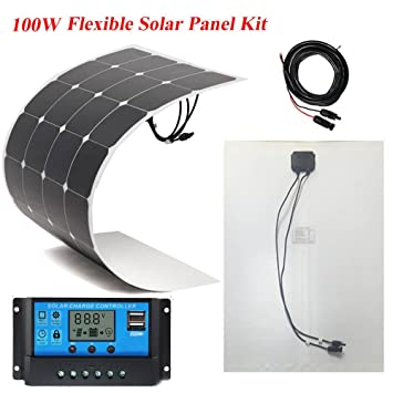 BRILLIHOOD 100W Flexible Solar Panel +20A 12V/24V LCD Controller For Boat  Caravan Home or Off-grid/Backup Solar Power systems