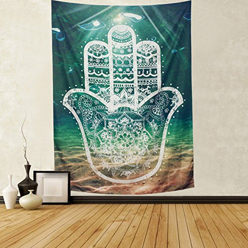 Leofanger Mandala Tapestry Hamsa Hand of Fatima Symbol of Good Fortune with Mandala Pattern Folkart Hippie Psychedelic Tapestry Green Bohemian Mandala Hand Wall Tapestry for Bedroom Living Room Dorm
