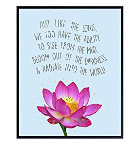 Inspirational Zen Lotus Quote Wall Art Decor Print - Spiritual 8x10 Home, Office, Apartment, Yoga Studio, Meditation Room Decor - Motivational Gift for Buddhist, Buddha Fan - Unframed Poster Print
