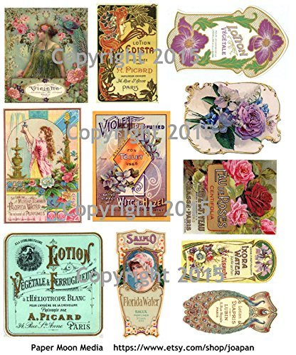Victorian Vintage Perfume Labels Collage Sheet #102 Paper Moon Media