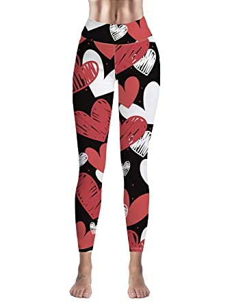 4c437b0aa73605 Amazon.com: DJ Custom Women's Leggings Capri Yoga Pants High Waist- Cool  Heart Street Art: Clothing
