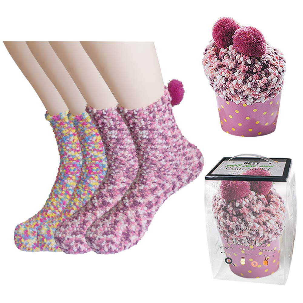 2 Pairs Fuzzy Socks Socks Warm Winter Cozy Socks Slipper Socks for Christmas Holiday (2 Pairs) Topivot