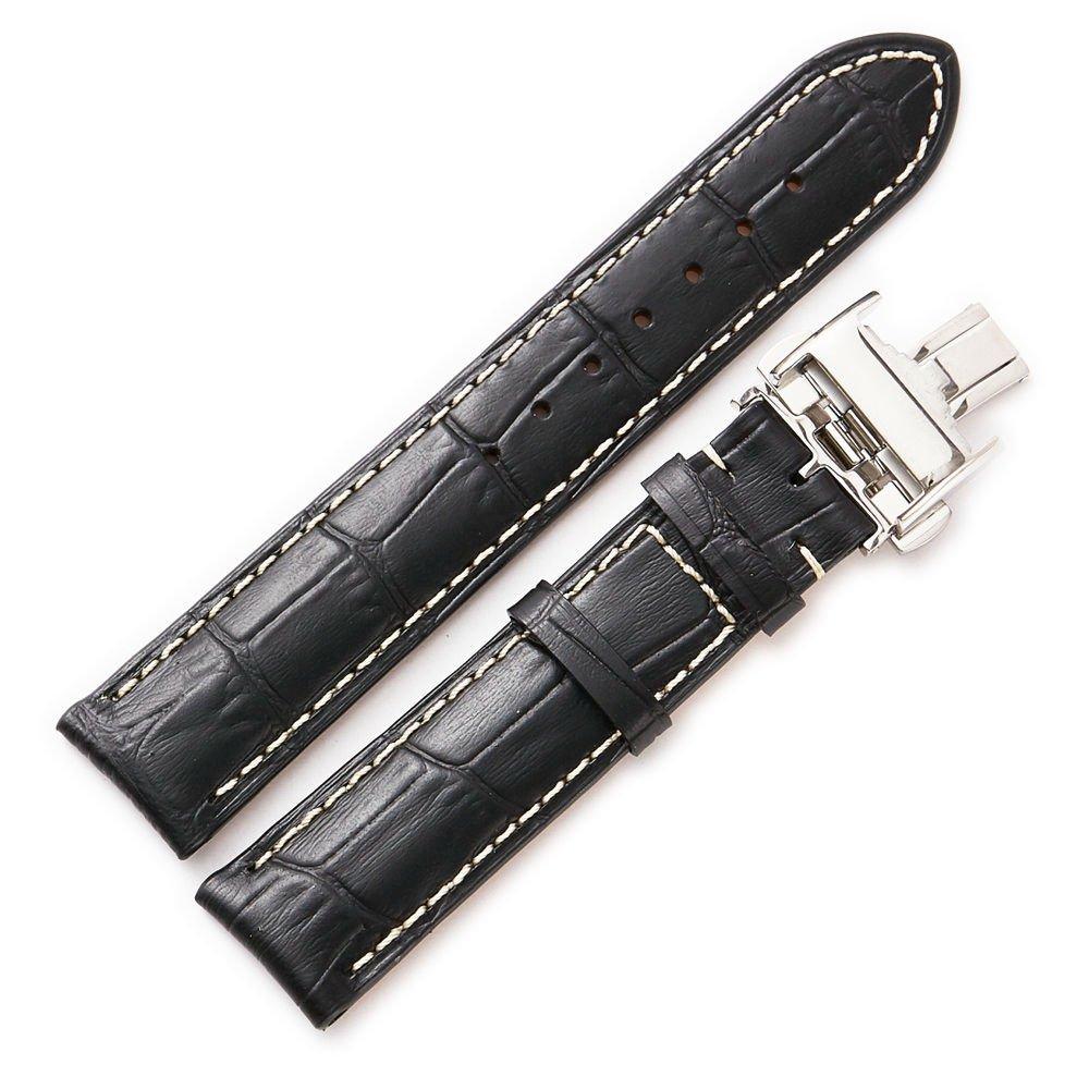 ブラウンブラック14 mm、15 mm、18 mm、19 mm、20 mm、21 mmレザー時計ストラップメタルクラスプブレスレットバックルリストバンドメンズ 20 ブラック 20|ブラック ブラック 20 B075NCL9QR