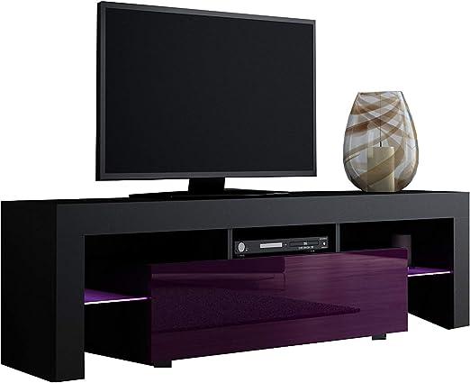 Concept Muebles Muebles Mueble de TV Milano 130/Moderno Mueble de TV LED/ Mueble de salón/TV Consola para TV Plana de hasta 55
