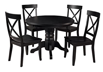 Amazon Com Classic Black 5 Piece 42 Round Dining Set By Home