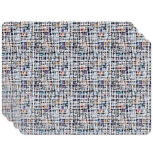 Pastel Pop Art Patchwork Placemat Set of 4 Vinyl Easy Clean Heat Insulation Stain-resistant
