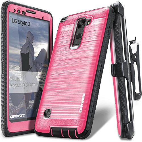 LG Stylo 2 /LG Stylo 2 Plus/LG Stylo 2 V, COVRWARE [Iron Tank] Built-in [Screen Protector] Heavy Duty Full-Body Rugged Holster Armor [Brushed Metal Texture] Case [Belt Clip][Kickstand], Pink