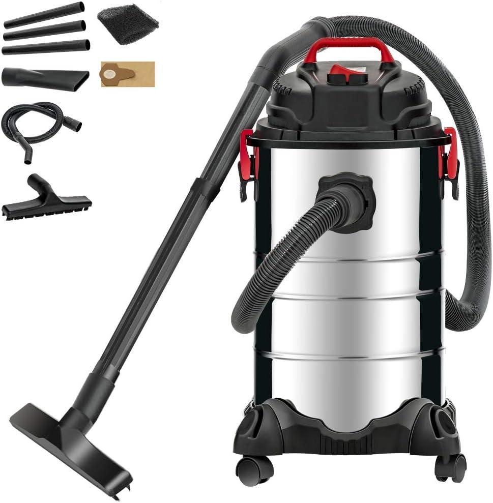KUPPET Wet/Dry Vacuum, 4 in 1 VacuumCleaner,8 Gallon, 3.5 Horsepower, Stainless Steel Tank…