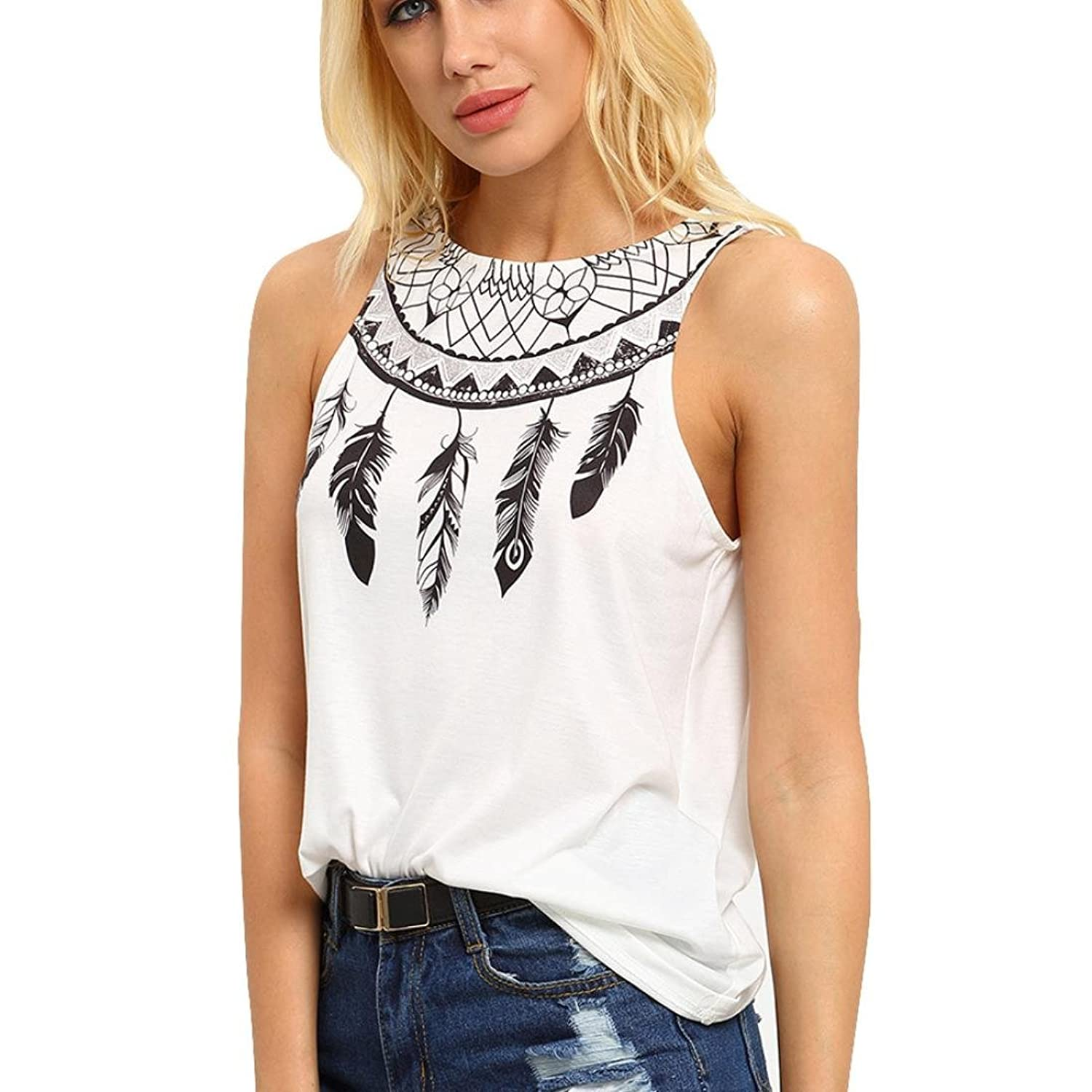 Gloous Casual Summer Sleeveless Feather Printed Blouse T Shirt