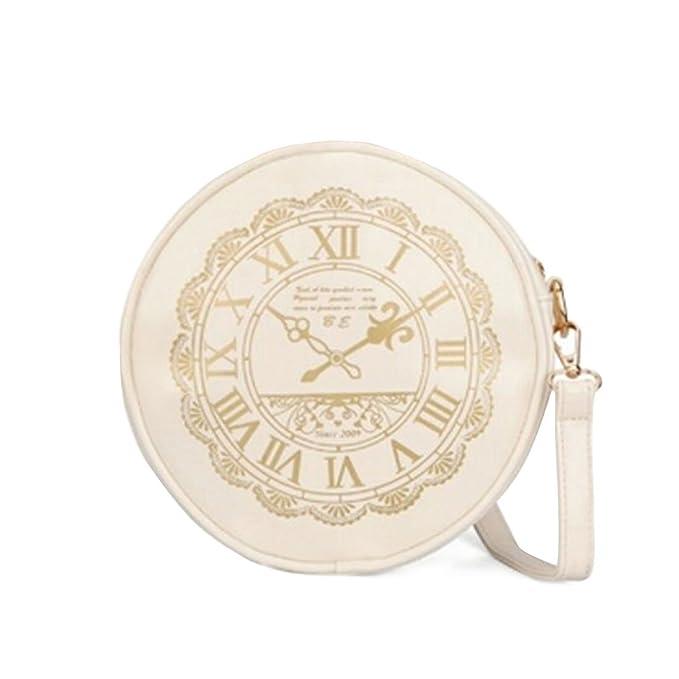 Retro Clock Reloj piel artificial Lindo Kawaii Carteras Monederos Bolso De Hombro - mujer, Blanco
