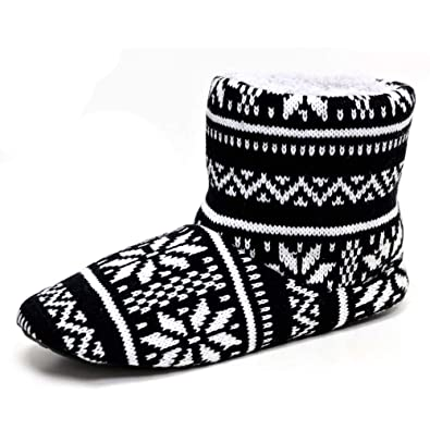 fd67b25627b1e Dunlop Men's Navy Fairisle Pattern Boot Slippers