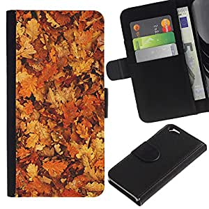 EuroTech - Apple Iphone 6 4.7 - Autumn Leaves Golden Brown Yellow Forest - Cuero PU Delgado caso Billetera cubierta Shell Armor Funda Case Cover Wallet Credit Card